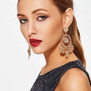 NEW Gold Tone Coin Dangling Boho Earrings